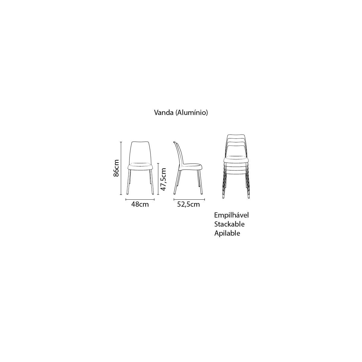 Cadeira Tramontina Vanda Linheiro em Polipropileno Preto com Base em Alumínio