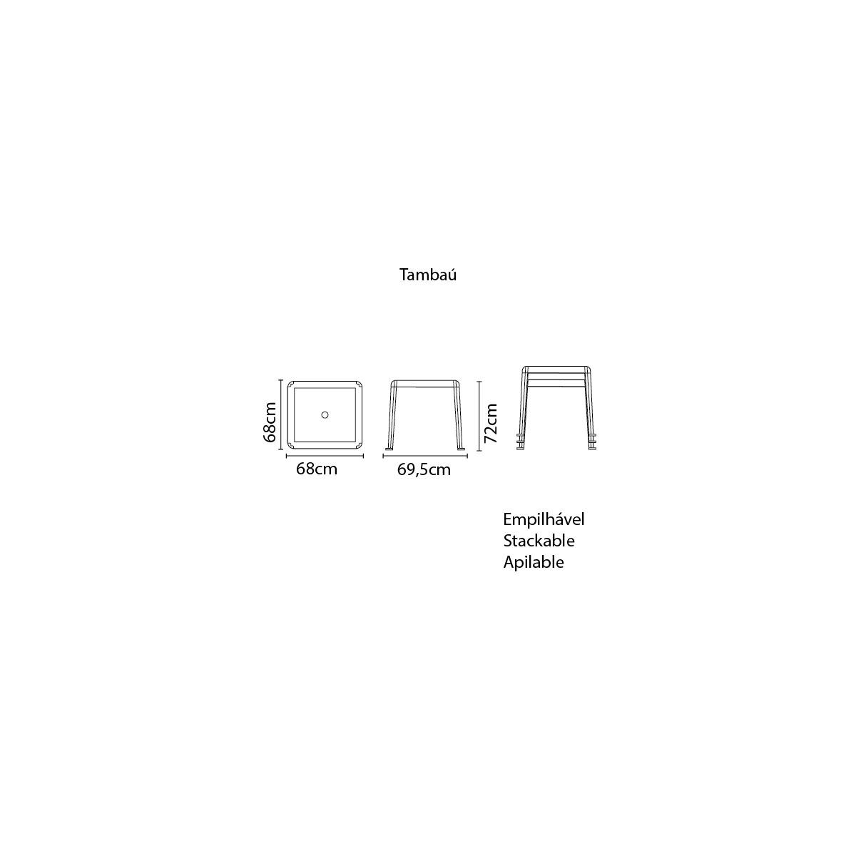 Mesa Quadrada Tramontina Tambau Basic em Polipropileno Branco