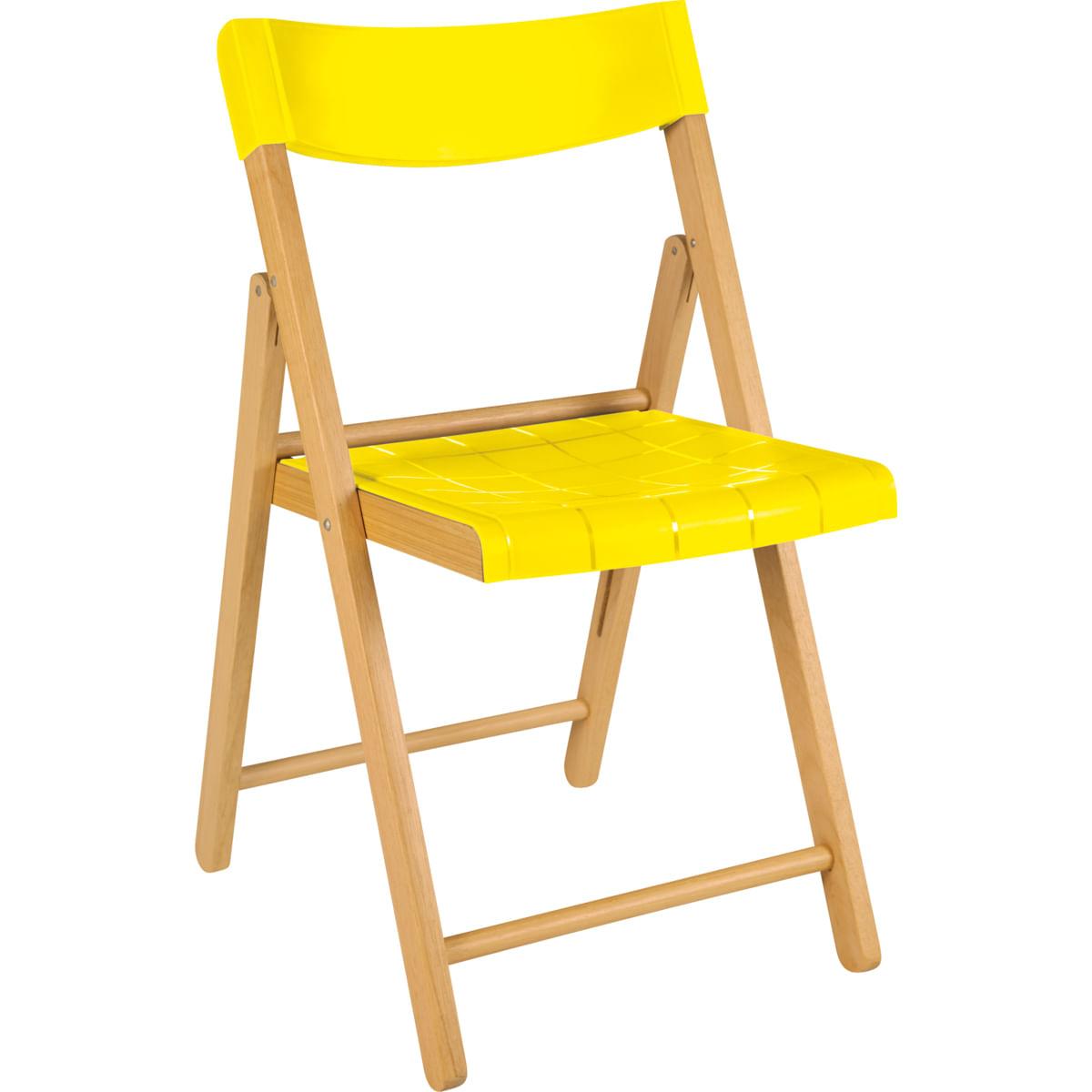 Cadeira Dobrável Tramontina em Madeira Tauarí Envernizada e Polipropileno Amarelo