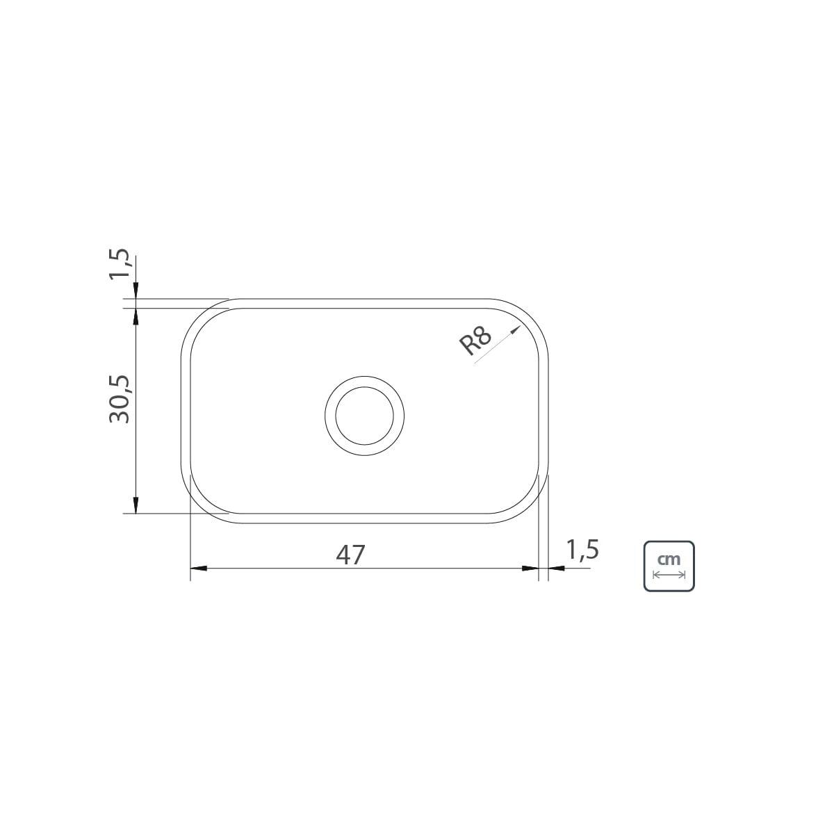 Cuba n.1 Tramontina 47 x 30 x 14 cm Lavínia 47 BL Standard em Aço Inox 430 Polido Sem Válvula