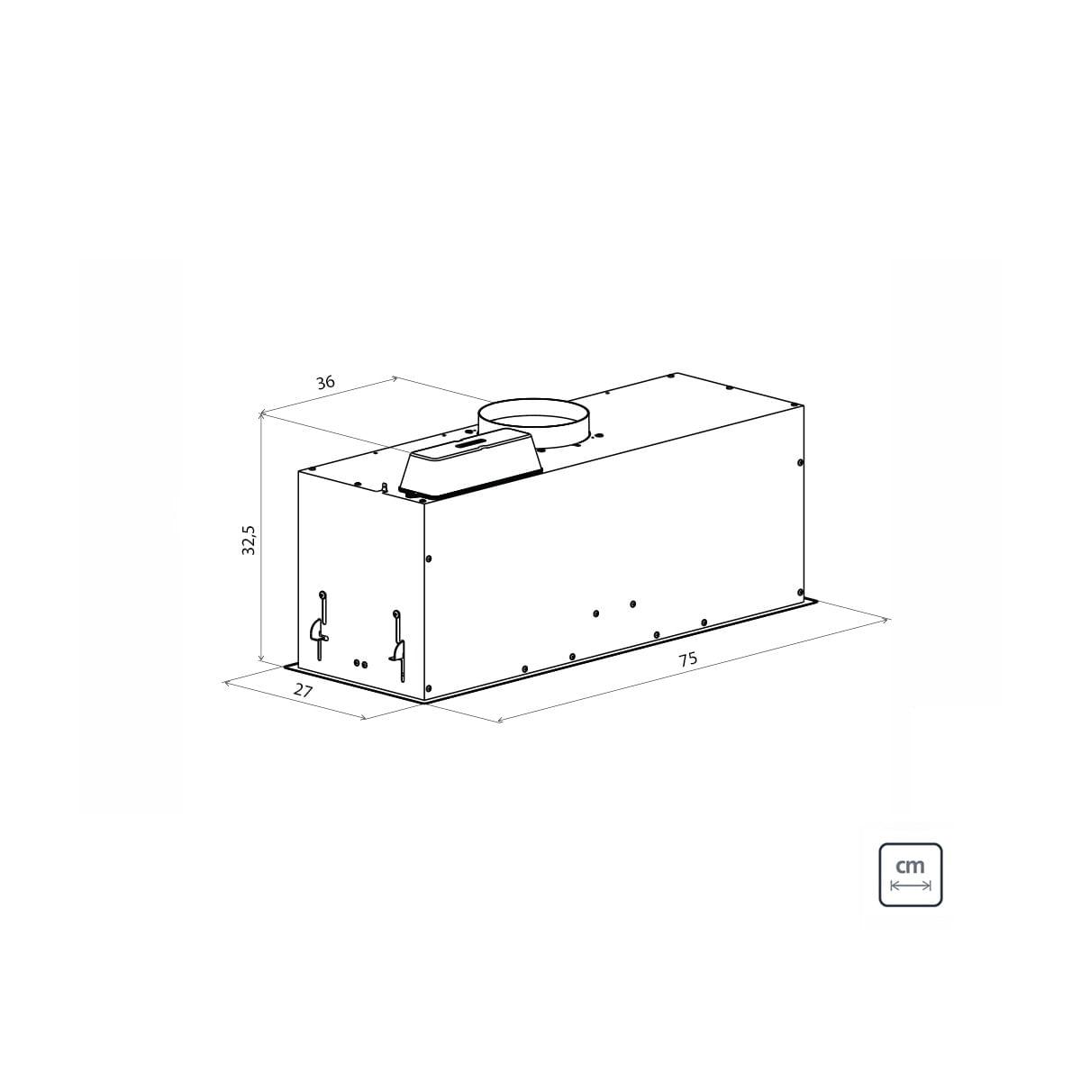 Coifa de Embutir Tramontina Incasso Retangular em Aço Inox 75 cm 220 V
