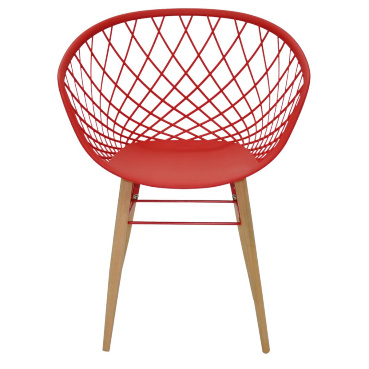 Cadeira Tramontina Sidera Vermelha em Poliamida com Pernas de Madeira