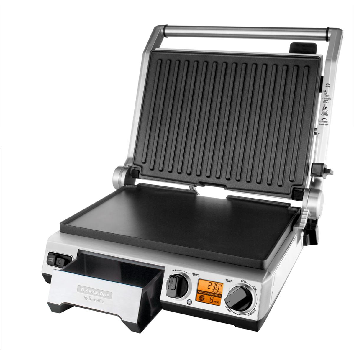 Grill Elétrico Tramontina by Breville Smart em Aço Inox com Display LCD 127 V