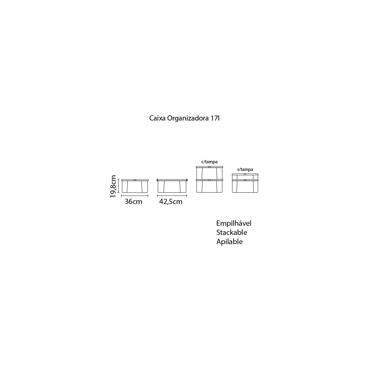 Caixa Organizadora Tramontina Office 17 L em Polipropileno Transparente