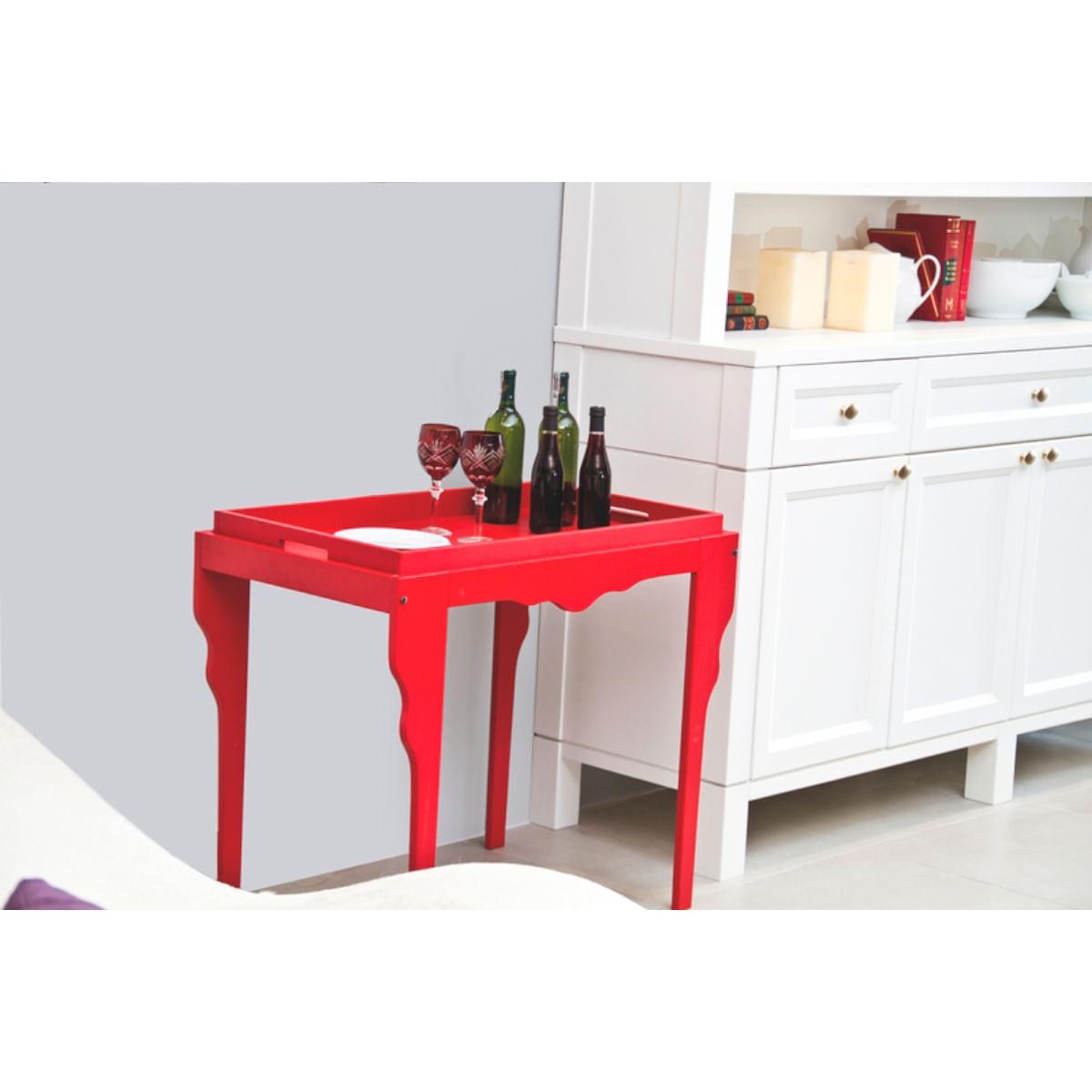 Mesa de Apoio de Madeira Retrô Tramontina 84 x 49 x 71 cm Vermelha com Bandeja