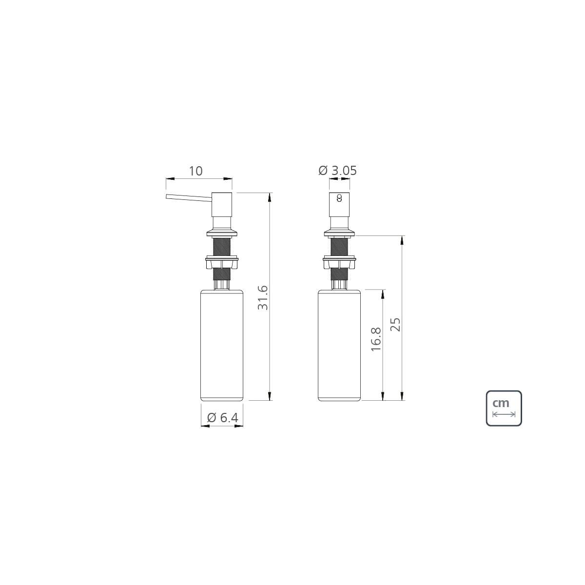 Dosador de Sabão Tramontina em Aço inox Black com Recipiente Plástico 500 ml com Revestimento PVD