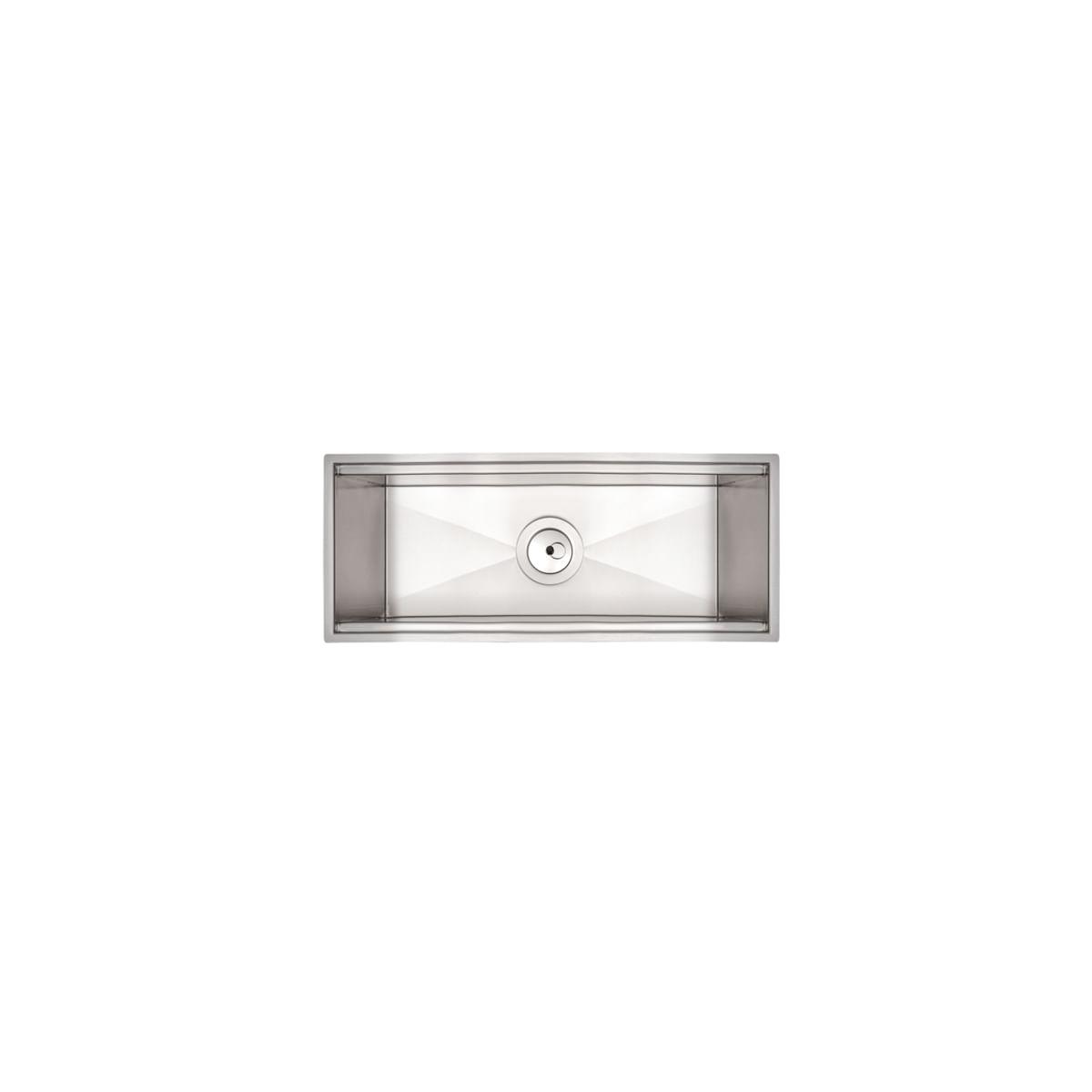Calha Úmida para Sobrepor Tramontina 45 x 18 cm Aço Inox com Acabamento Scotch Brite