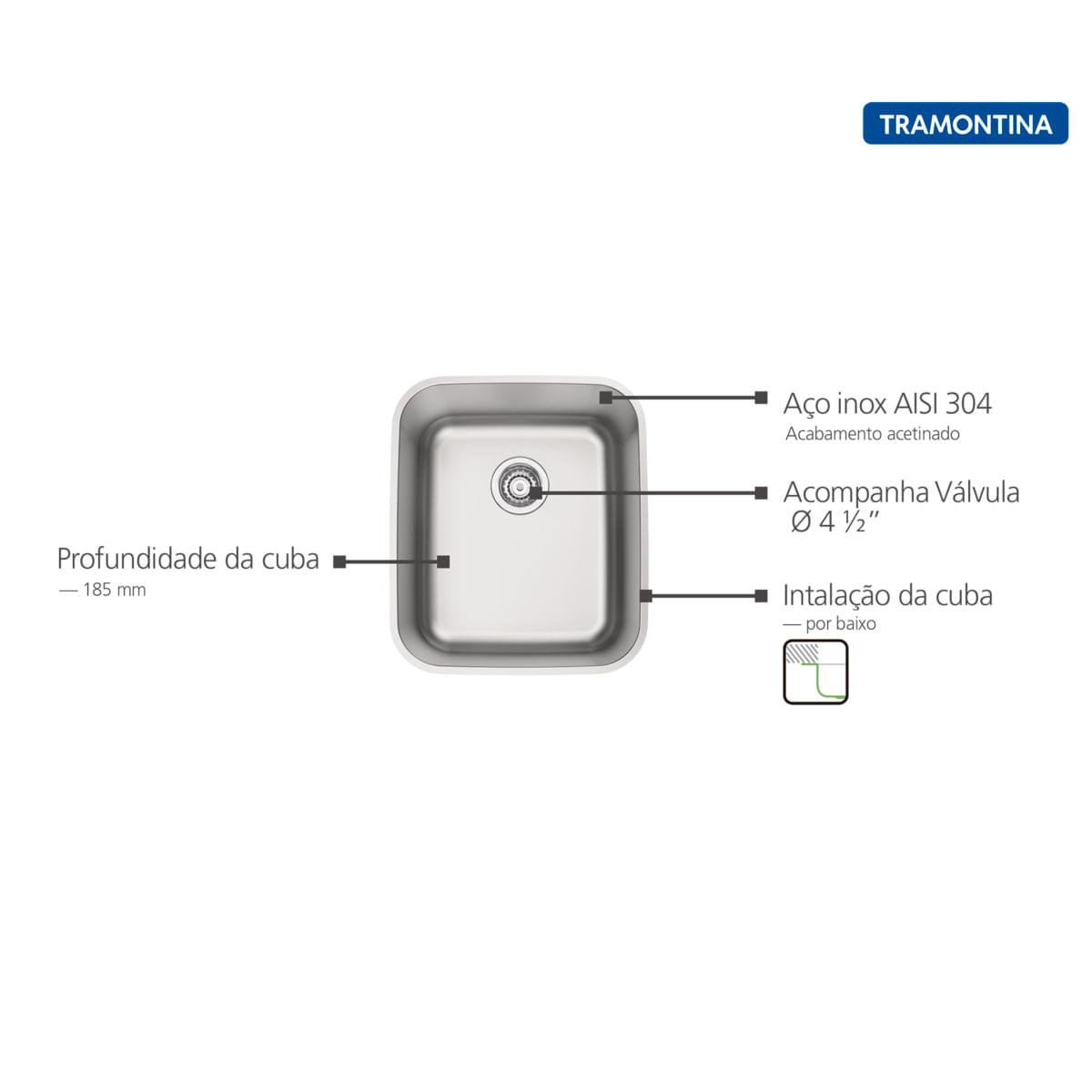 Cuba de Embutir Tramontina 34 x 40 cm Dora 34 BL em Aço Inox Acetinado com Válvula