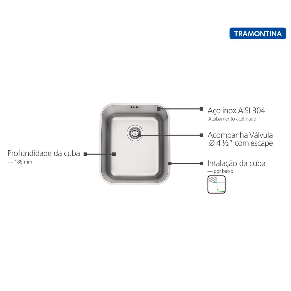 Cuba de Embutir Tramontina 34 x 40 cm Dora 34 BL em Aço Inox Acetinado com Válvula e Escape