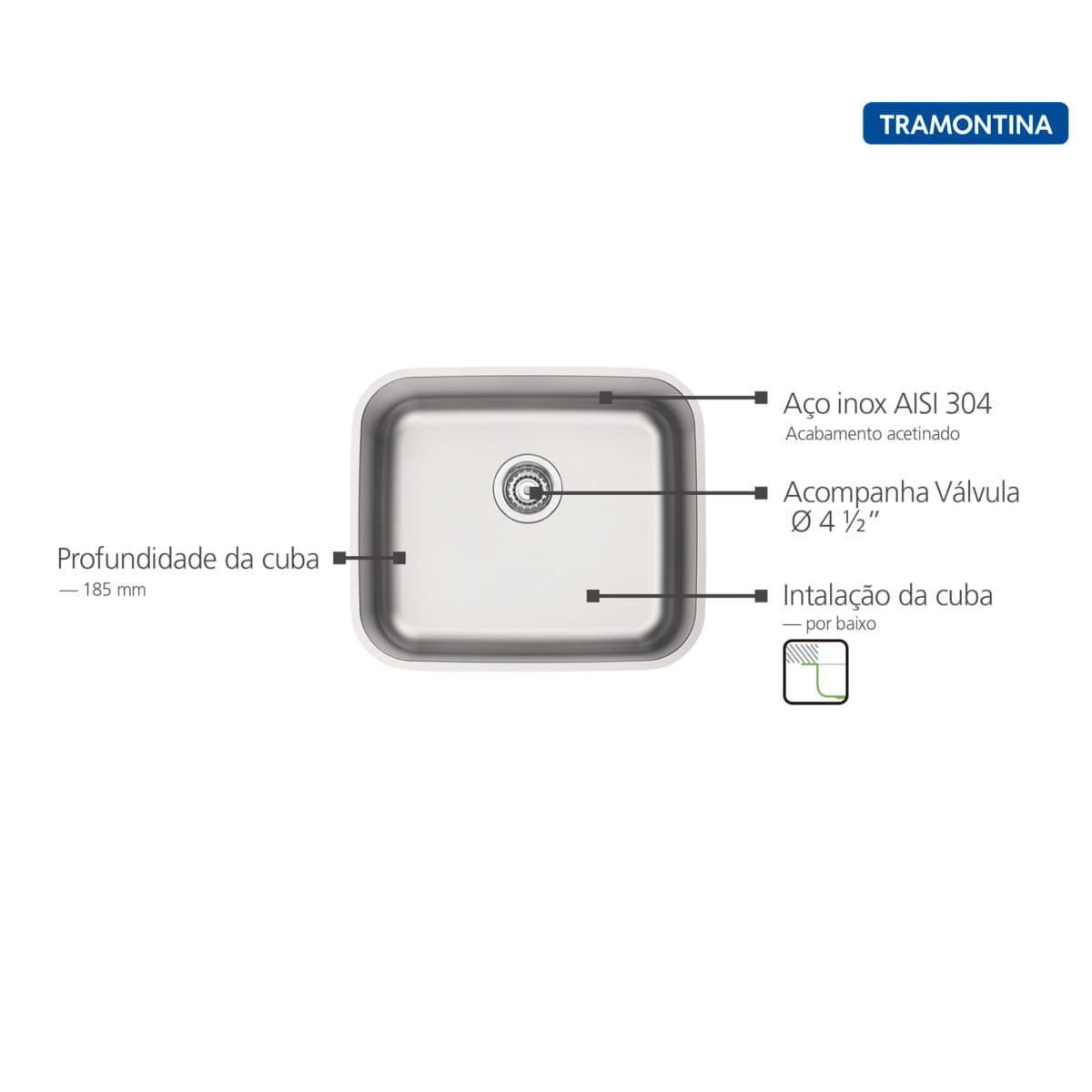Cuba de Embutir Tramontina 40 x 34 cm Dora 40 BL em Aço Inox Acetinado com Válvula