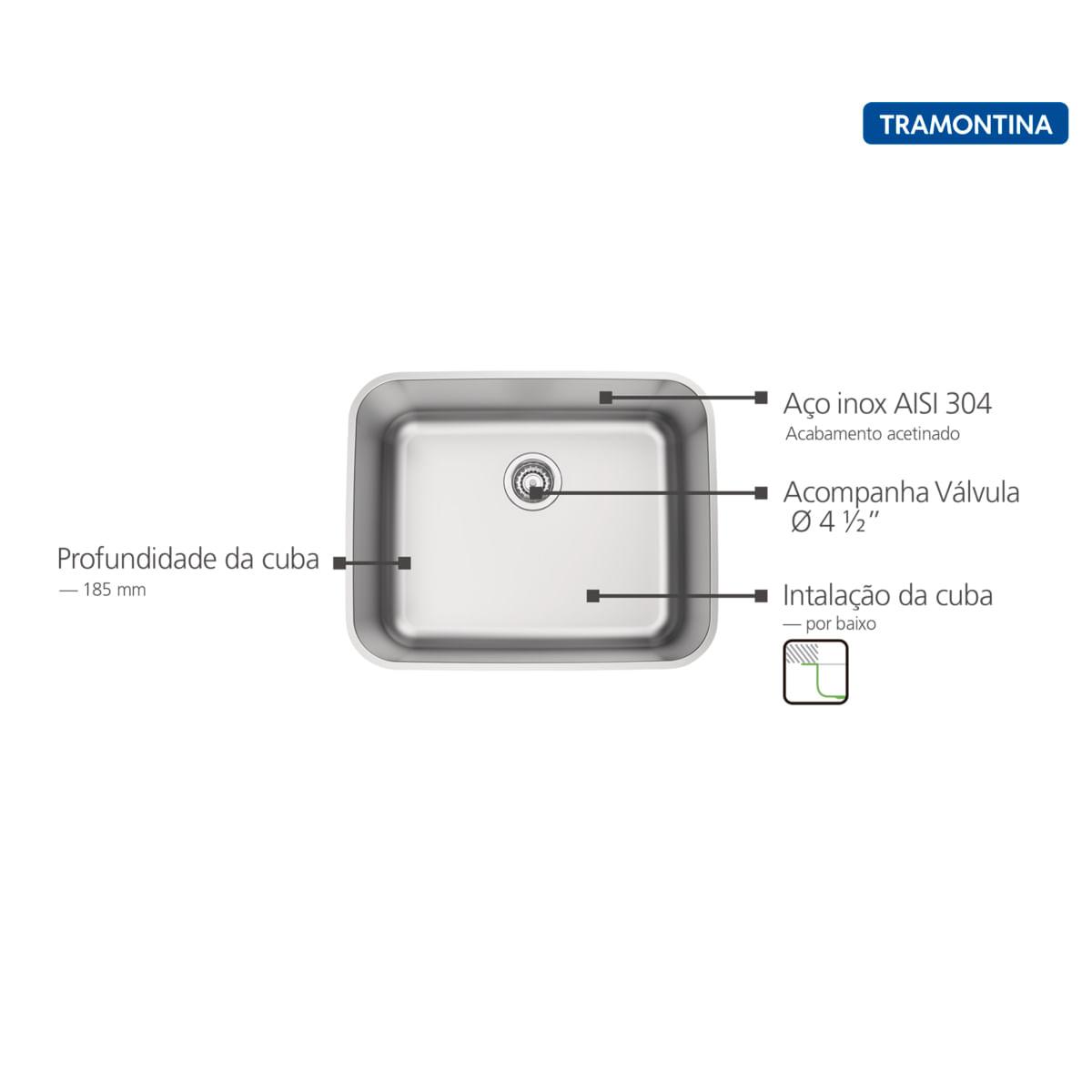 Cuba de Embutir Tramontina 50 x 40 cm Dora 50 BL em Aço Inox Acetinado com Válvula