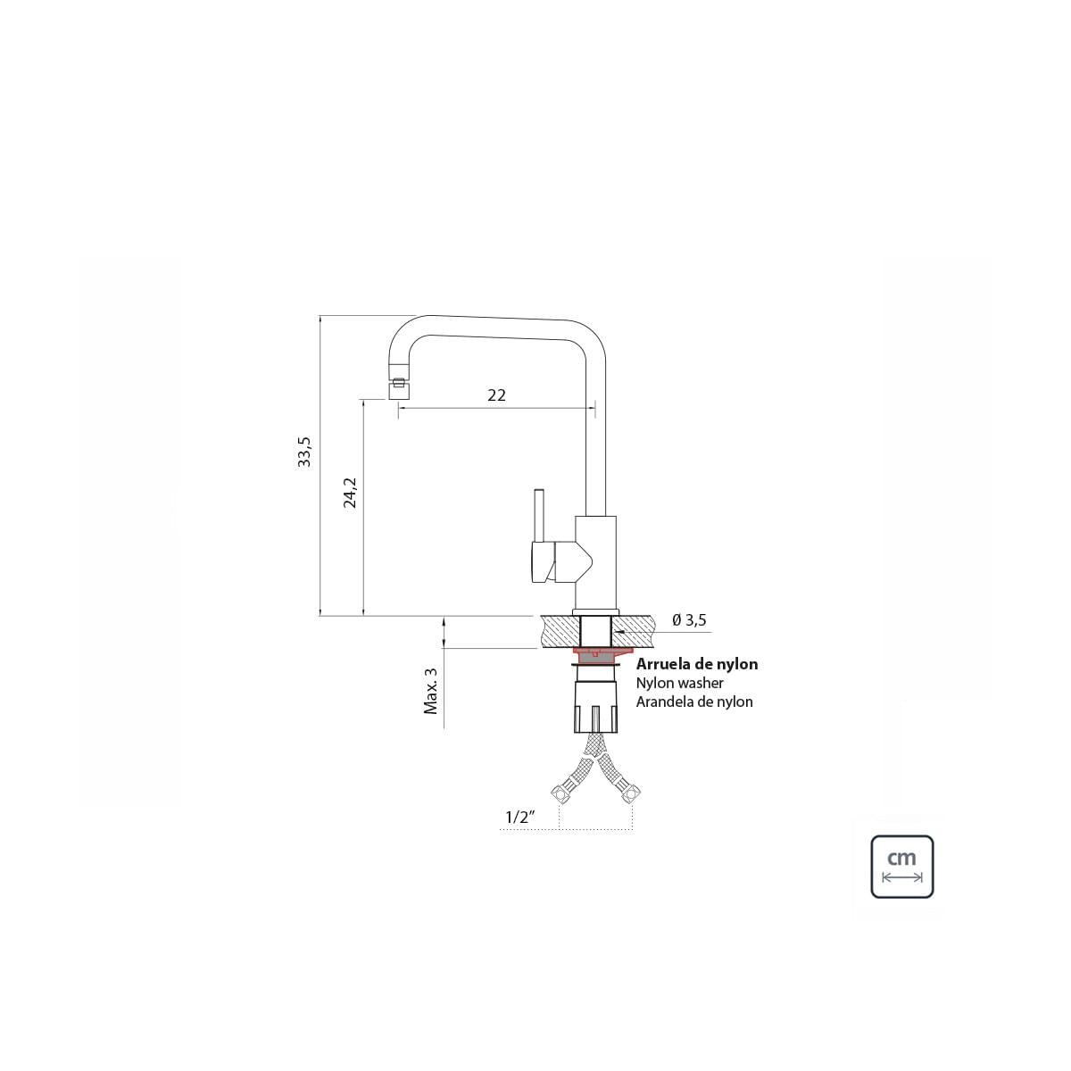 Misturador Monocomando Tramontina Angolare em Aço Inox Black com Bica Articulada com revestimento PVD