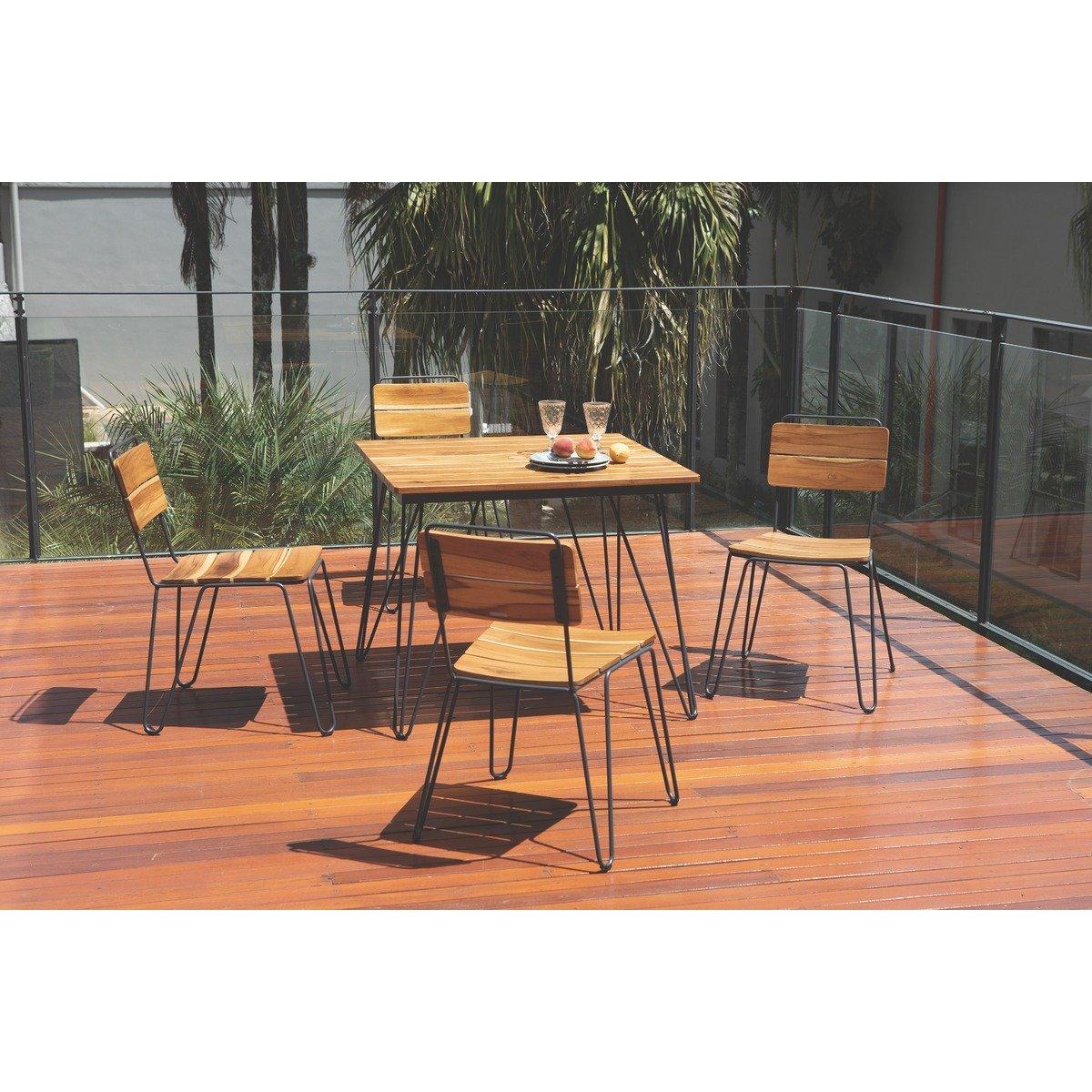 Cadeira Tramontina Tarsila em Madeira Teca com Estrutura em Aço Carbono e Acabamento Ecoclear Grafite