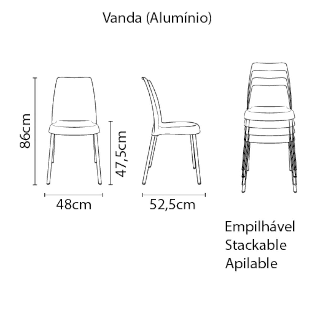 Cadeira Tramontina Vanda Marrom em Polipropileno com Pernas Anodizadas