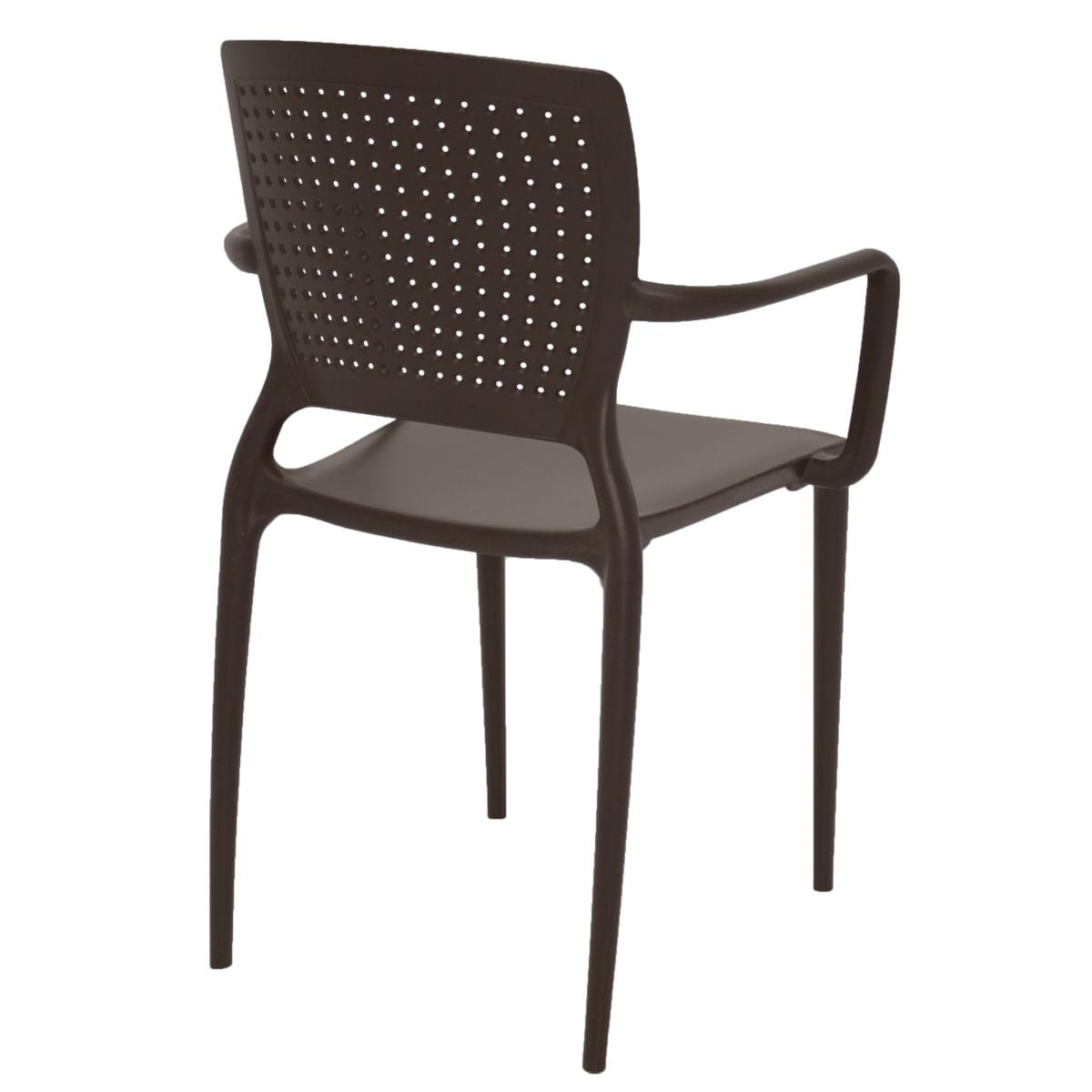Cadeira Tramontina Safira Marrom em Polipropileno e Fibra de Vidro com Braços