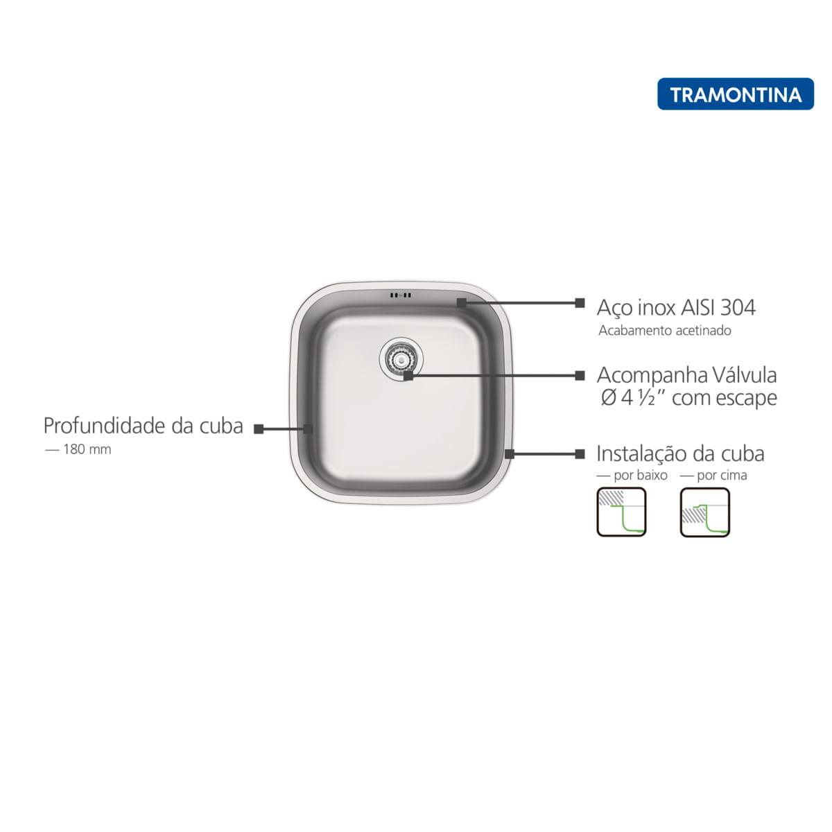 Cuba Tramontina Aria Maxi 40 BS Prime em Aço Inox Acetinado 40 x 40 x 20 cm com Válvula e Escape
