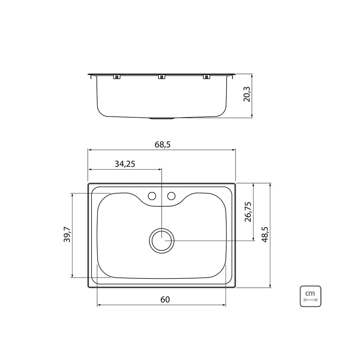 Cuba de Sobrepor em Aço Inox Tramontina Morgana 60 FX Acetinado 68 x 48 cm com Válvula Dosador de Sabão Cesto Aramado e Torneira