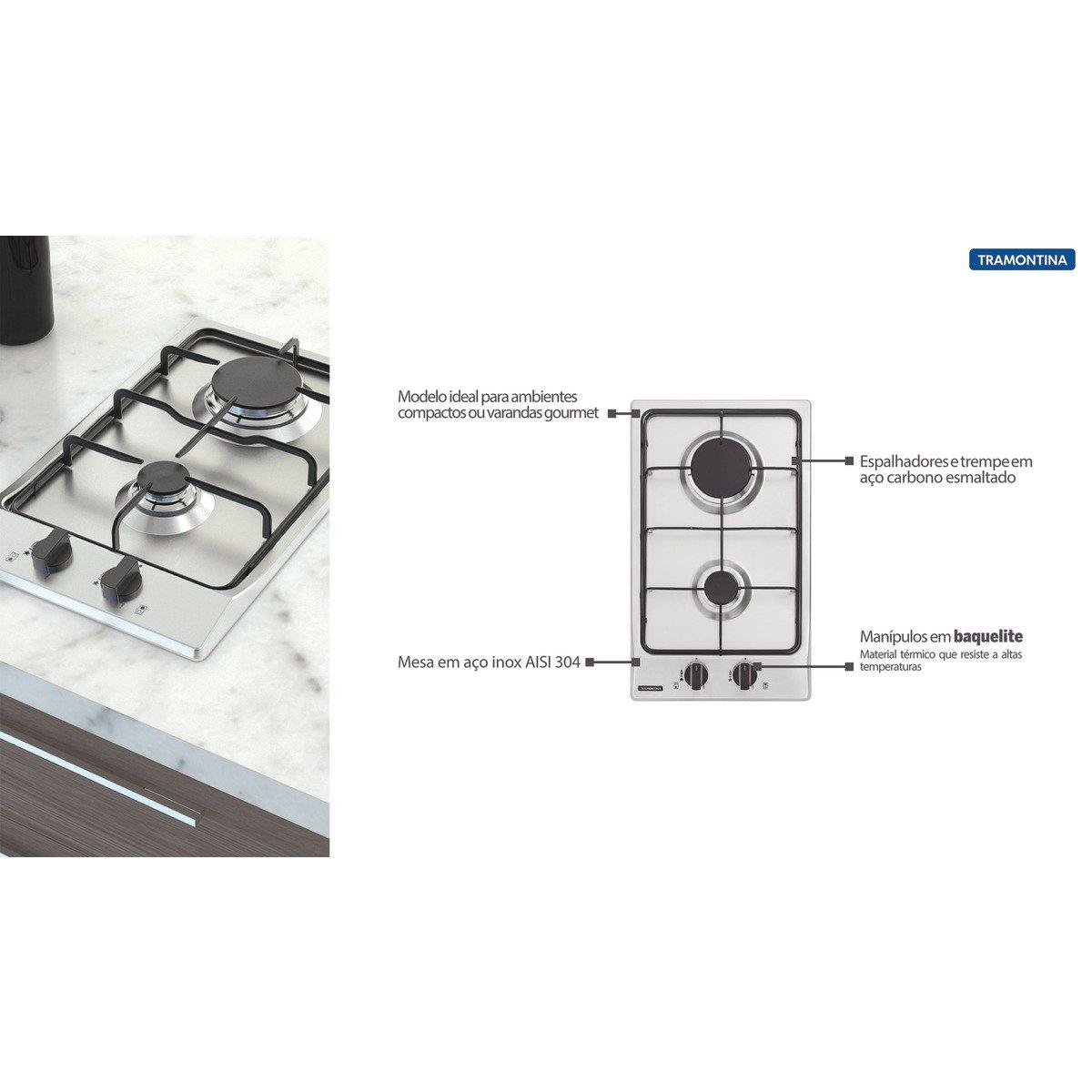 Cooktop a Gás Tramontina Dominó 2GX 30 em Aço Inox 2 Queimadores