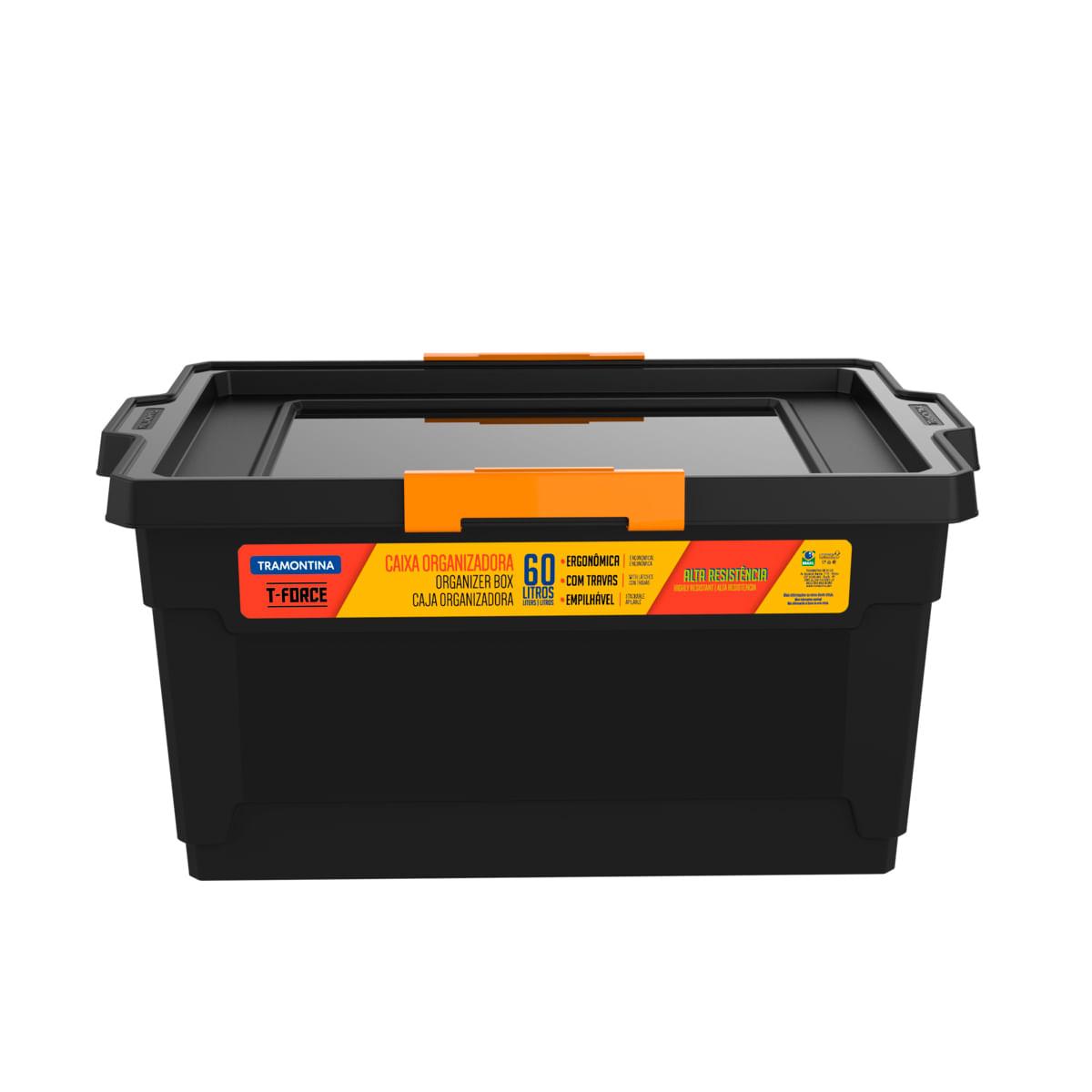 Caixa Organizadora Tramontina T-Force 60L em Polipropileno Preto