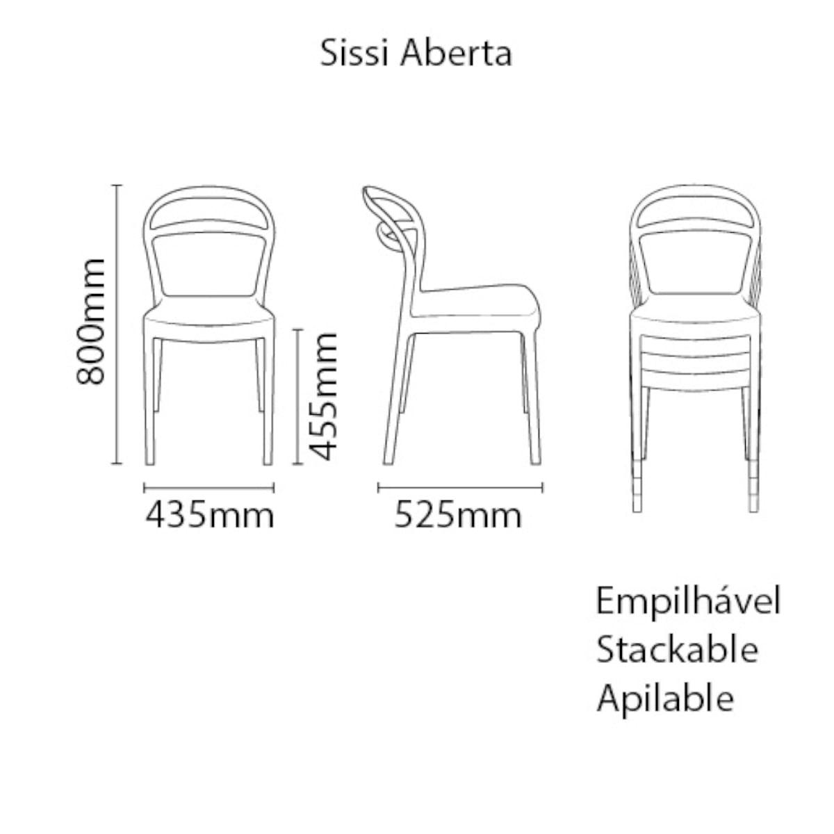 Cadeira Tramontina Sissi Encosto Vazado ECO em Polipropileno Reciclado Preto