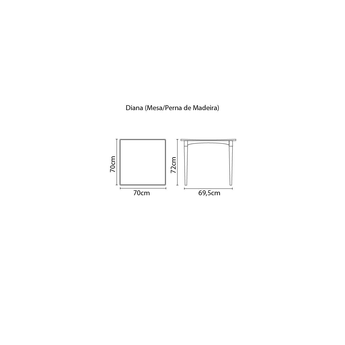 Mesa Tramontina Diana 70 x 70 x 72 cm em Polipropileno Vermelho com Pernas de Madeira