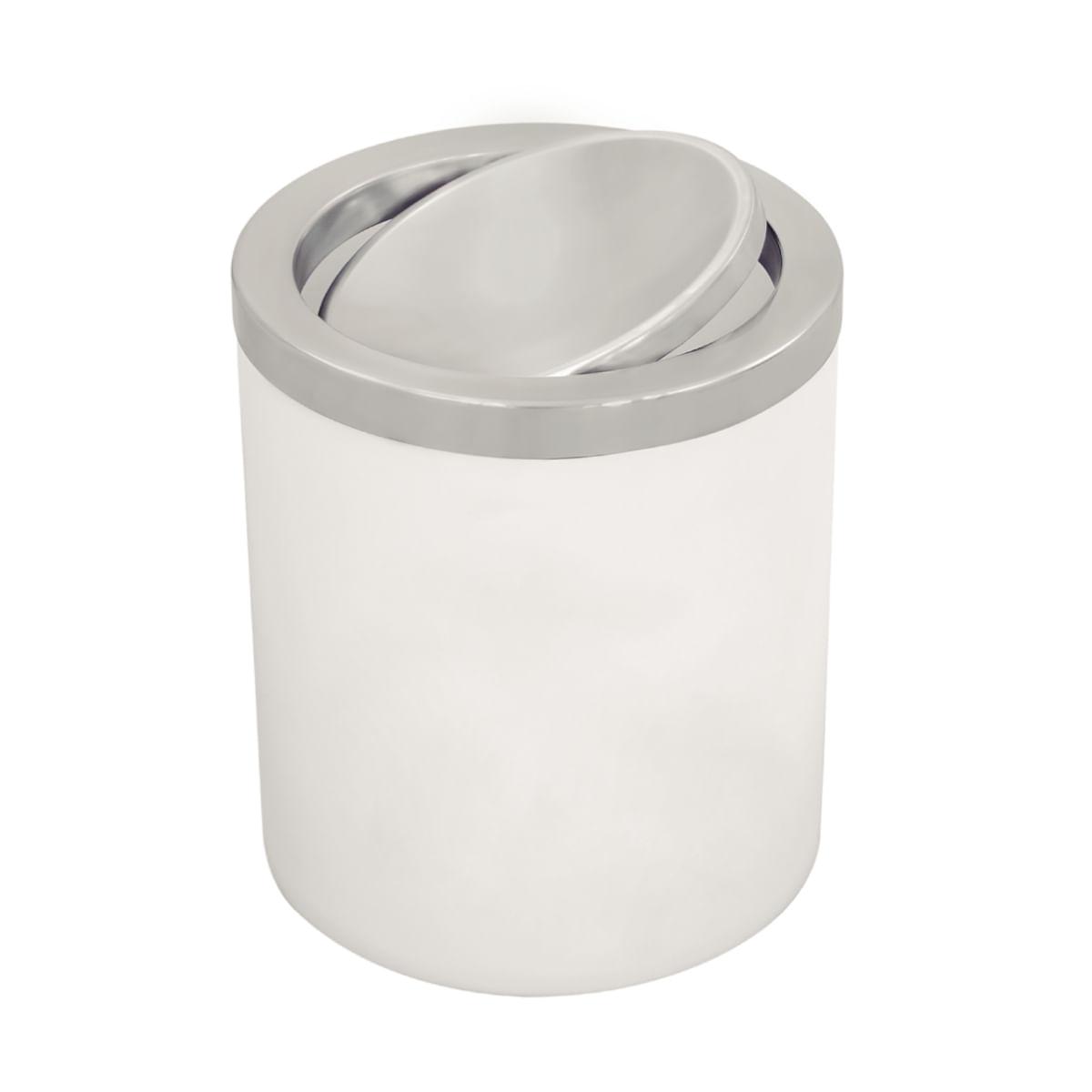 Lixeira Tramontina Útil Basculante em Aço Inox e Corpo em Polipropileno Branco 5 Litros