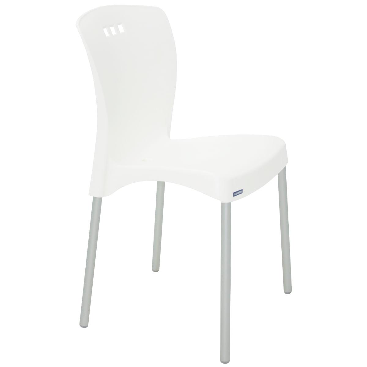 Cadeira Tramontina Mona em Polipropileno Branco com Pernas de Alumínio Anodizado
