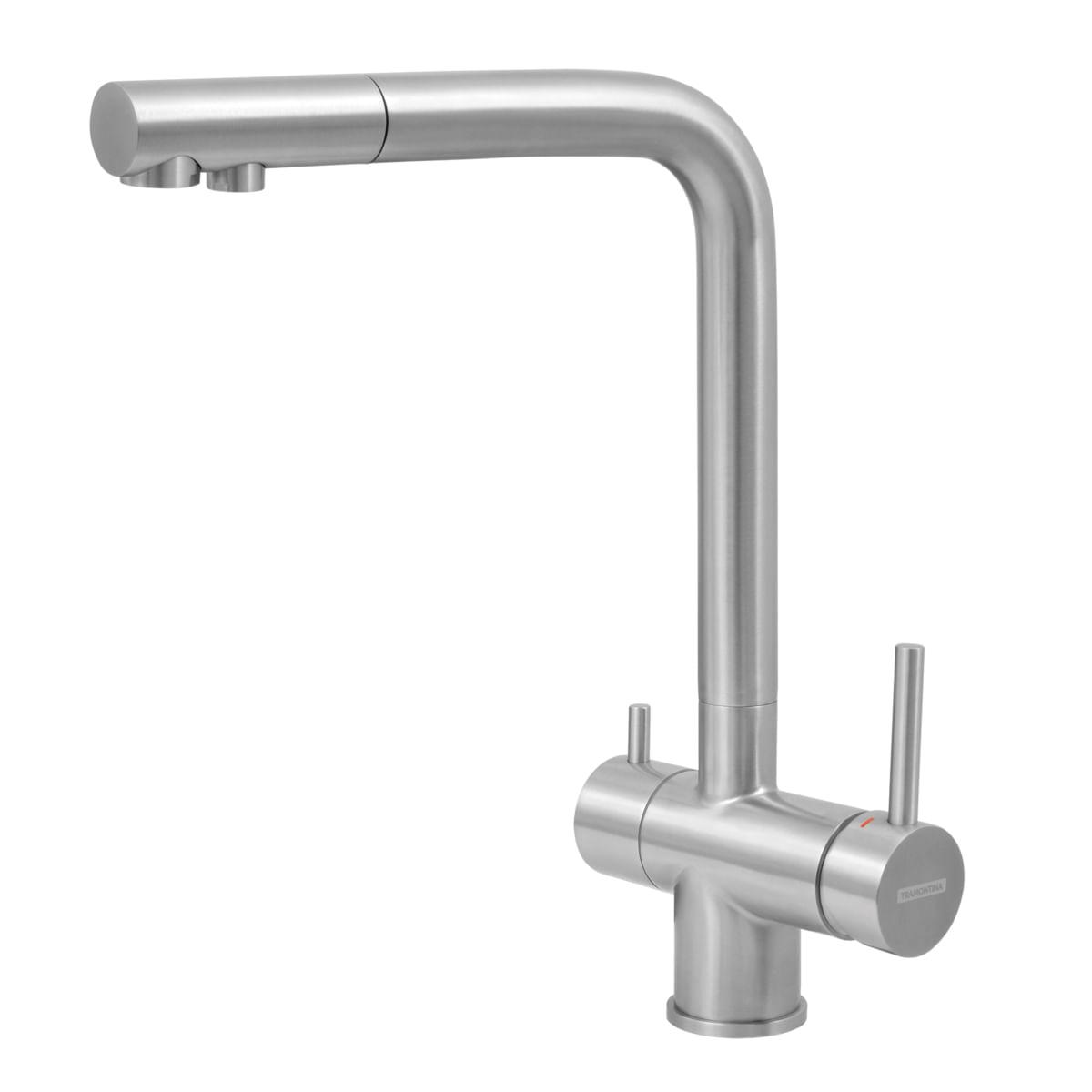 Misturador Monocomando Tramontina Monde Filter em Aço Inox com Saída Adicional para Água Filtrada com Filtro 3M
