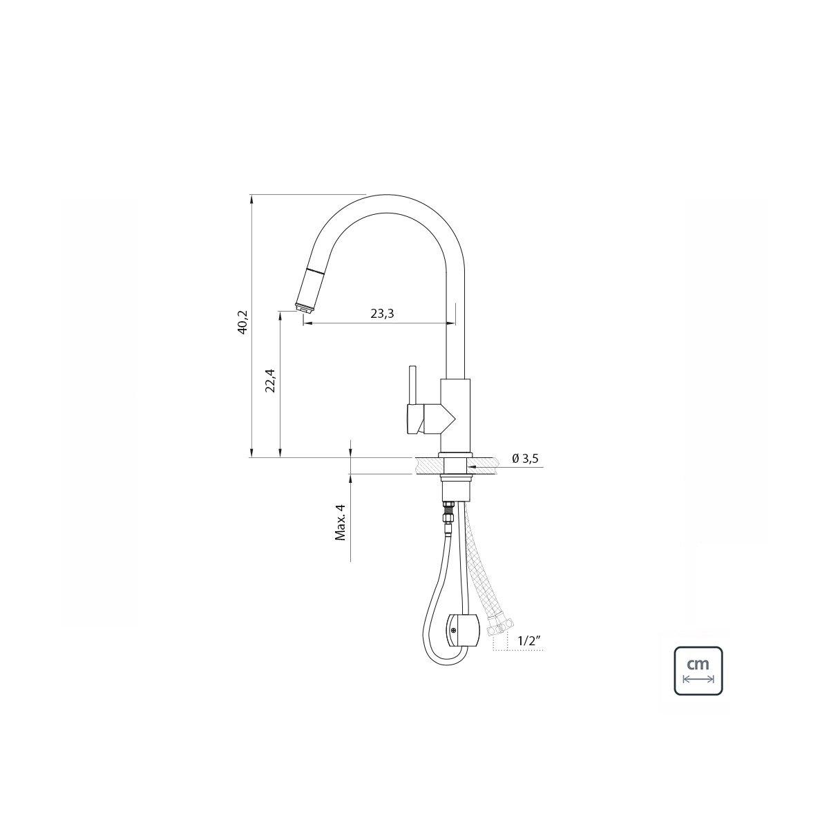 Misturador Monocomando Tramontina Arko Plus em Aço Inox com acabamento Scotch Brite e Extensor