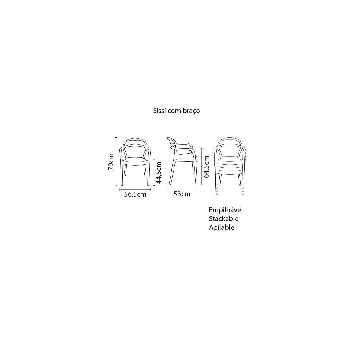 Cadeira Tramontina Sissi Encosto Vazado com Braços em Polipropileno e Fibra de Vidro Marrom