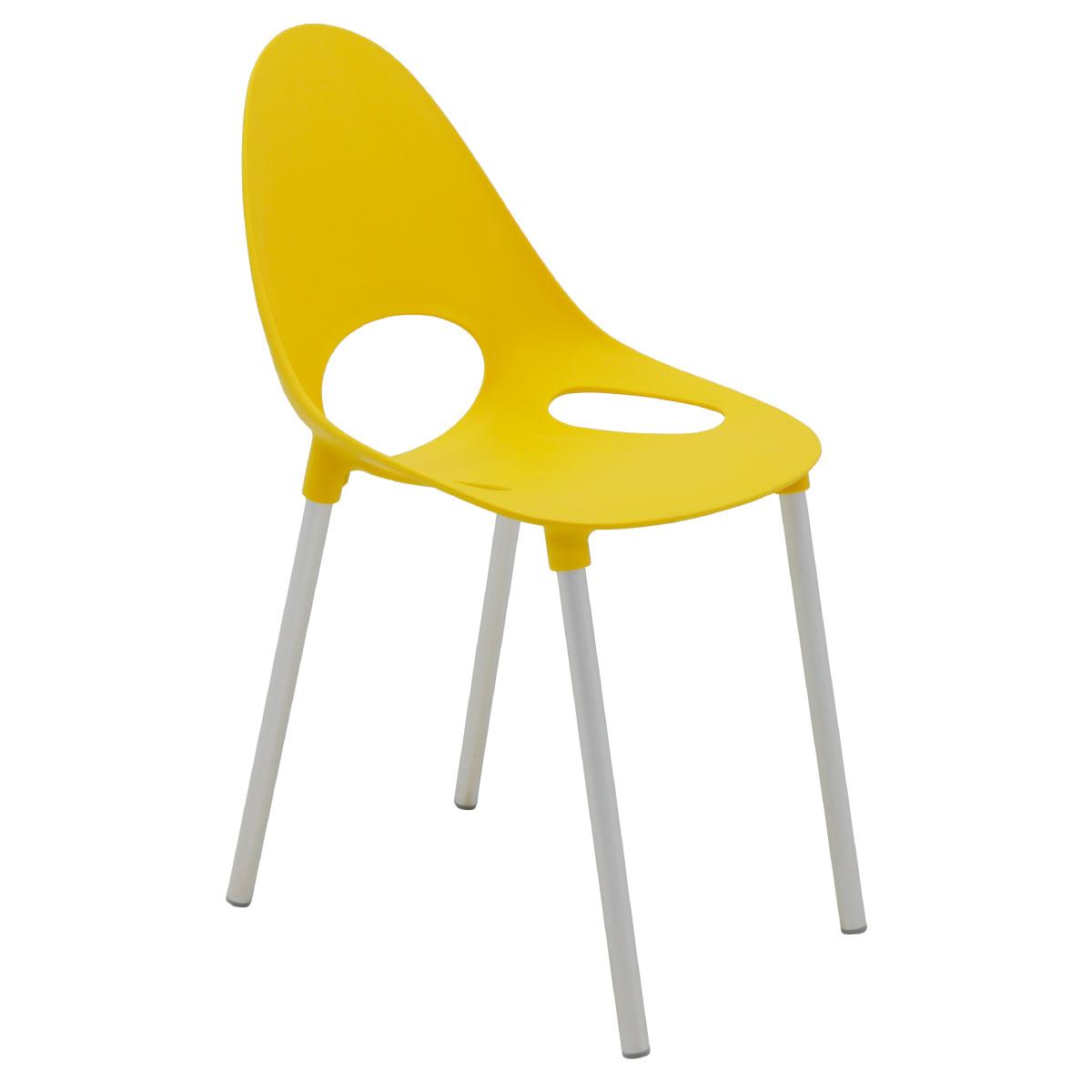 Cadeira Tramontina Elisa em Polipropileno Amarelo com Pernas de Alumínio Anodizado