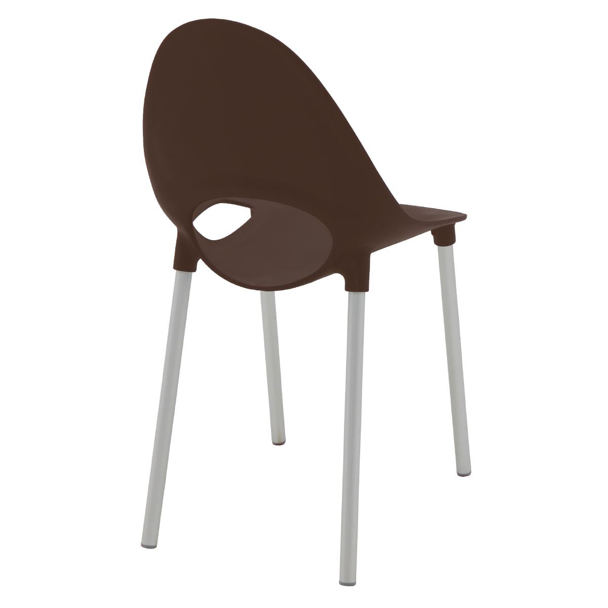 Cadeira Tramontina Elisa em Polipropileno Marrom com Pernas de Alumínio Anodizado