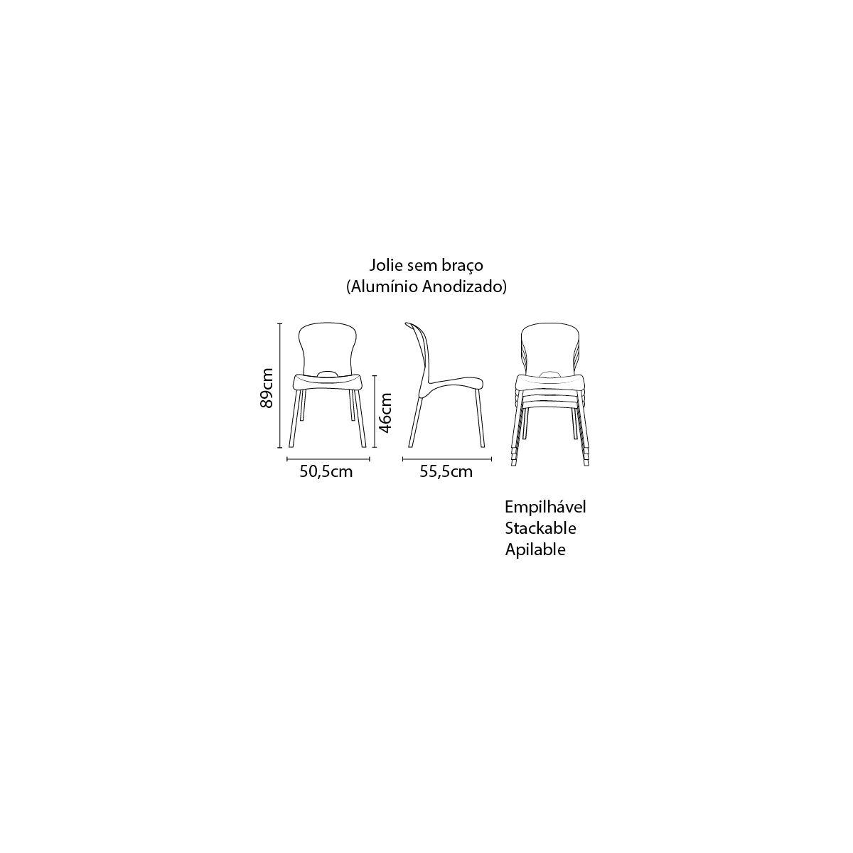 Cadeira Tramontina Jolie em Polipropileno Preto com Pernas de Alumínio Anodizado