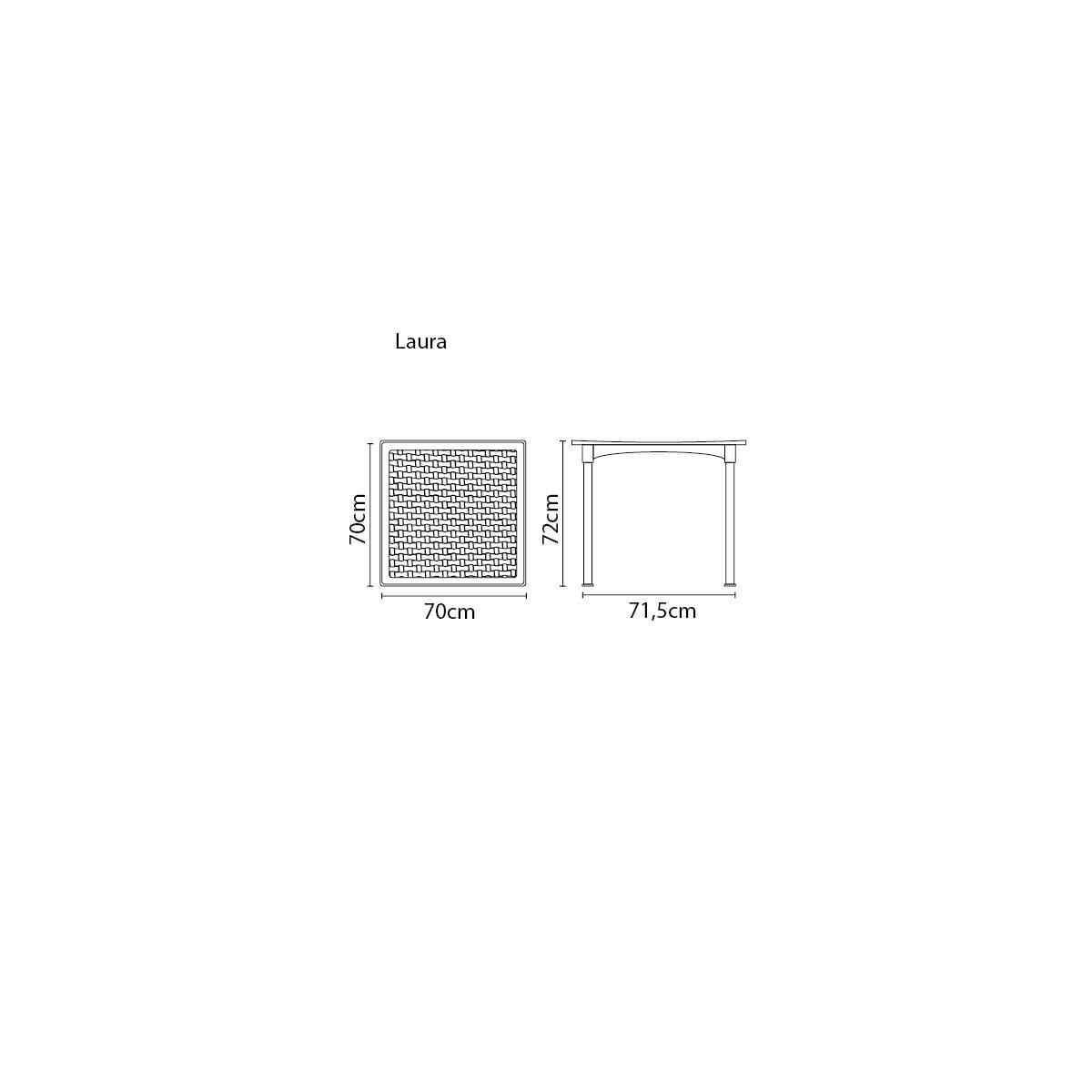 Mesa Tramontina Laura Rattan 70 cm em Polipropileno Preto com Pernas de Alumínio Anodizado