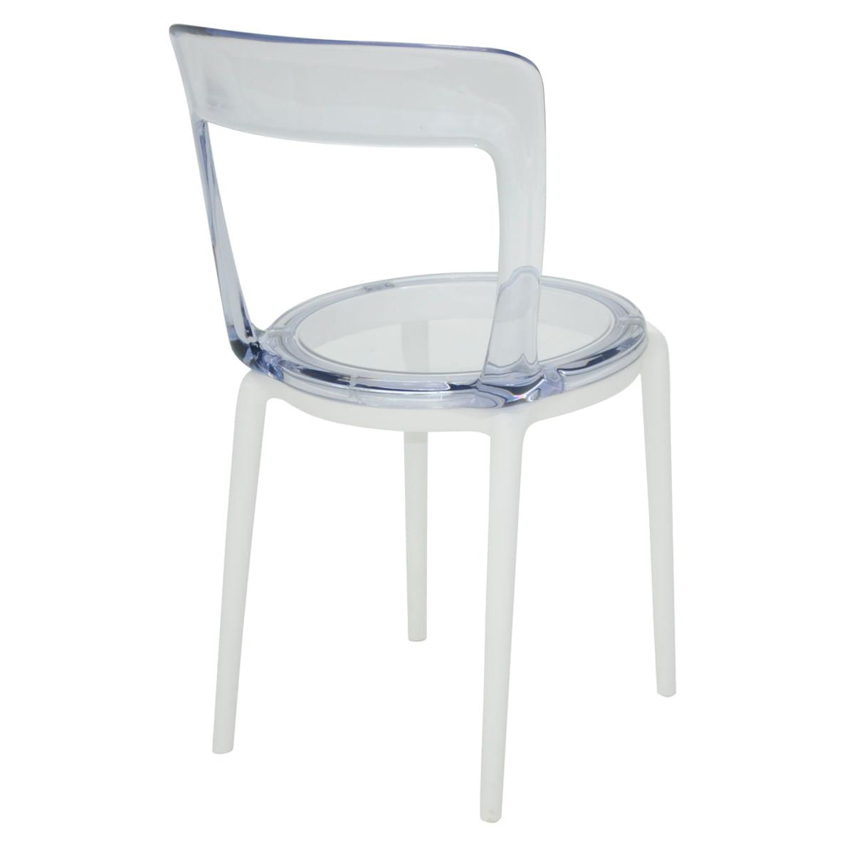 Cadeira Tramontina Luna C em Policarbonato com Pernas em Polipropileno Branco