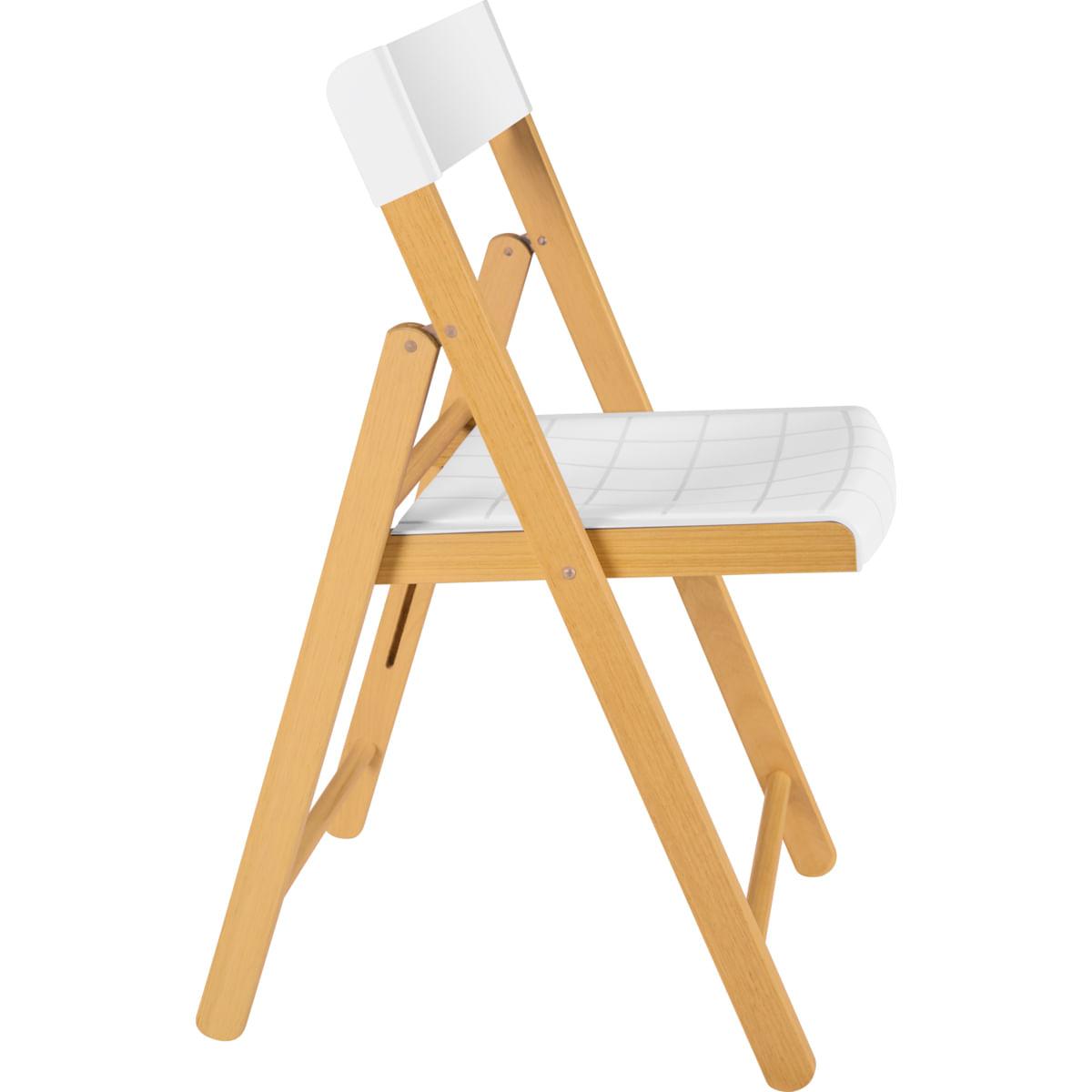 Cadeira Dobrável Tramontina em Madeira Tauarí Envernizada e Polipropileno Branco