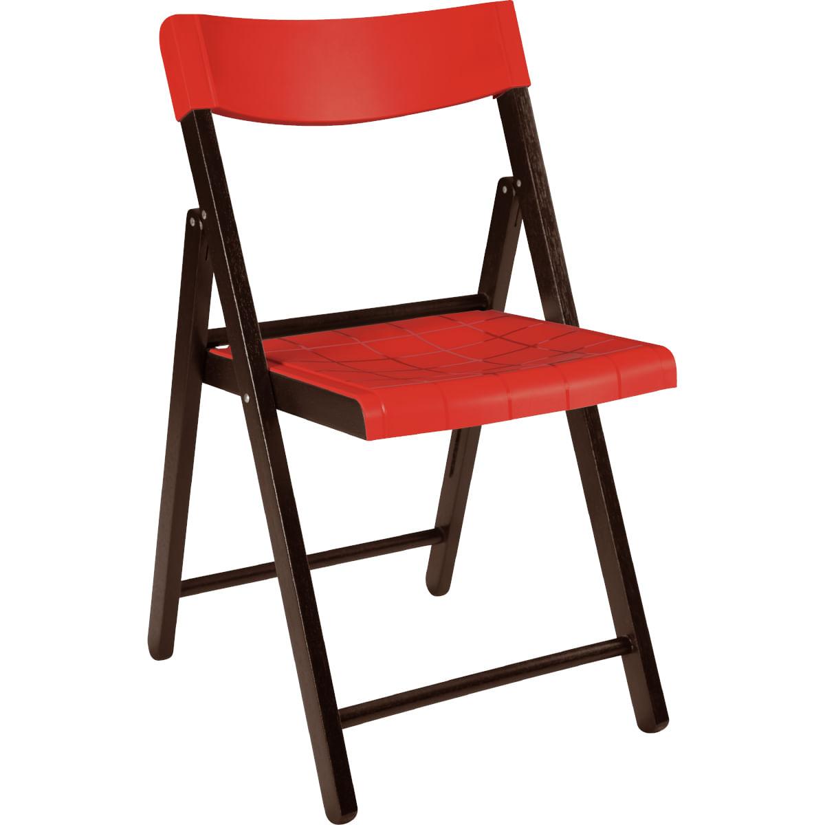 Cadeira Dobrável Tramontina em Madeira Tauarí Tabaco e Polipropileno Vermelho