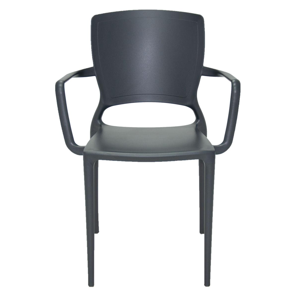 Cadeira Tramontina Sofia com Encosto Fechado em Polipropileno e Fibra de Vidro Grafite com Braços