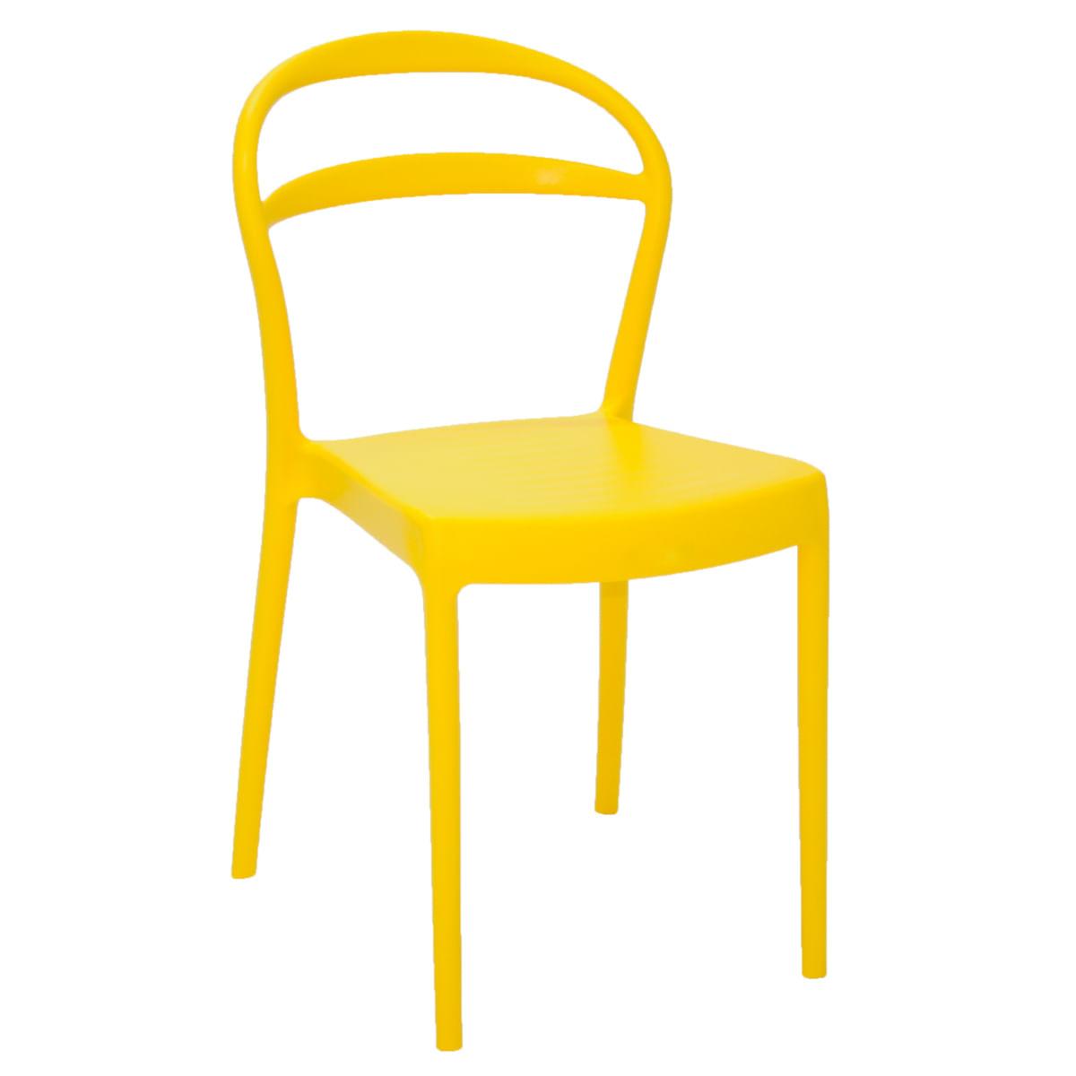 Cadeira Tramontina Sissi com Encosto Vazado em Polipropileno e Fibra de Vidro Amarelo