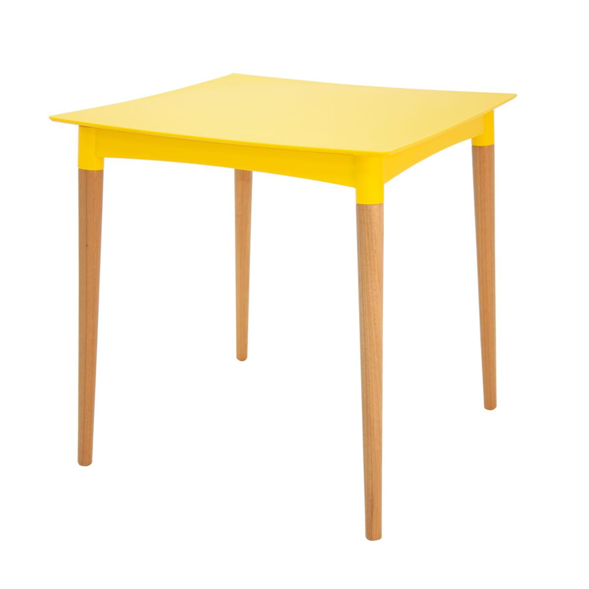 Mesa Tramontina Diana 70 cm em Polipropileno Amarelo com Pernas de Madeira