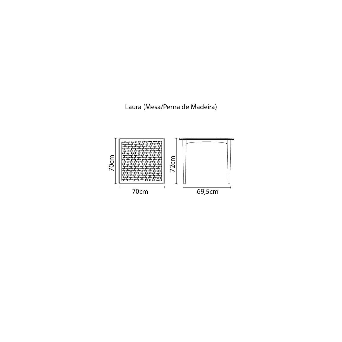 Mesa Tramontina Laura Rattan 70 cm em Polipropileno Marrom com Pernas de Madeira