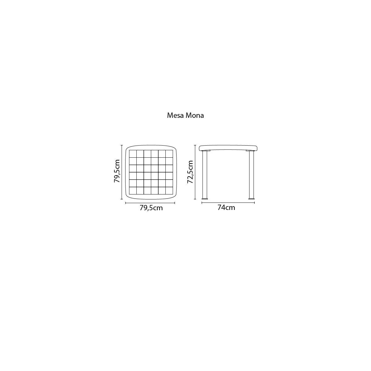 Mesa Tramontina Mona 80 cm em Polipropileno Preto com Pernas de Alumínio Anodizado