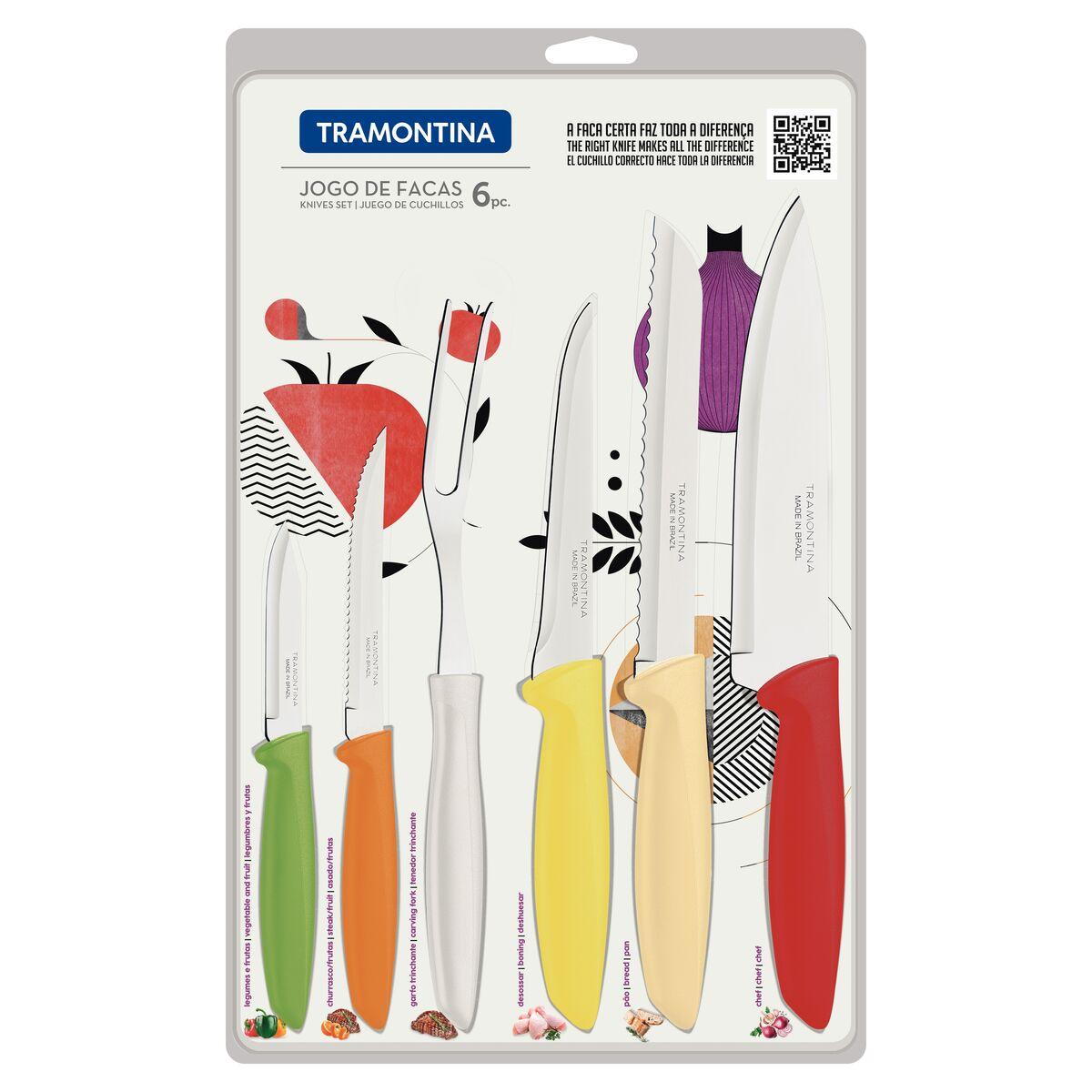 Jogo de Facas Tramontina Plenus com Lâminas em Aço Inox e Cabos de Polipropileno Colorido 06 Peças