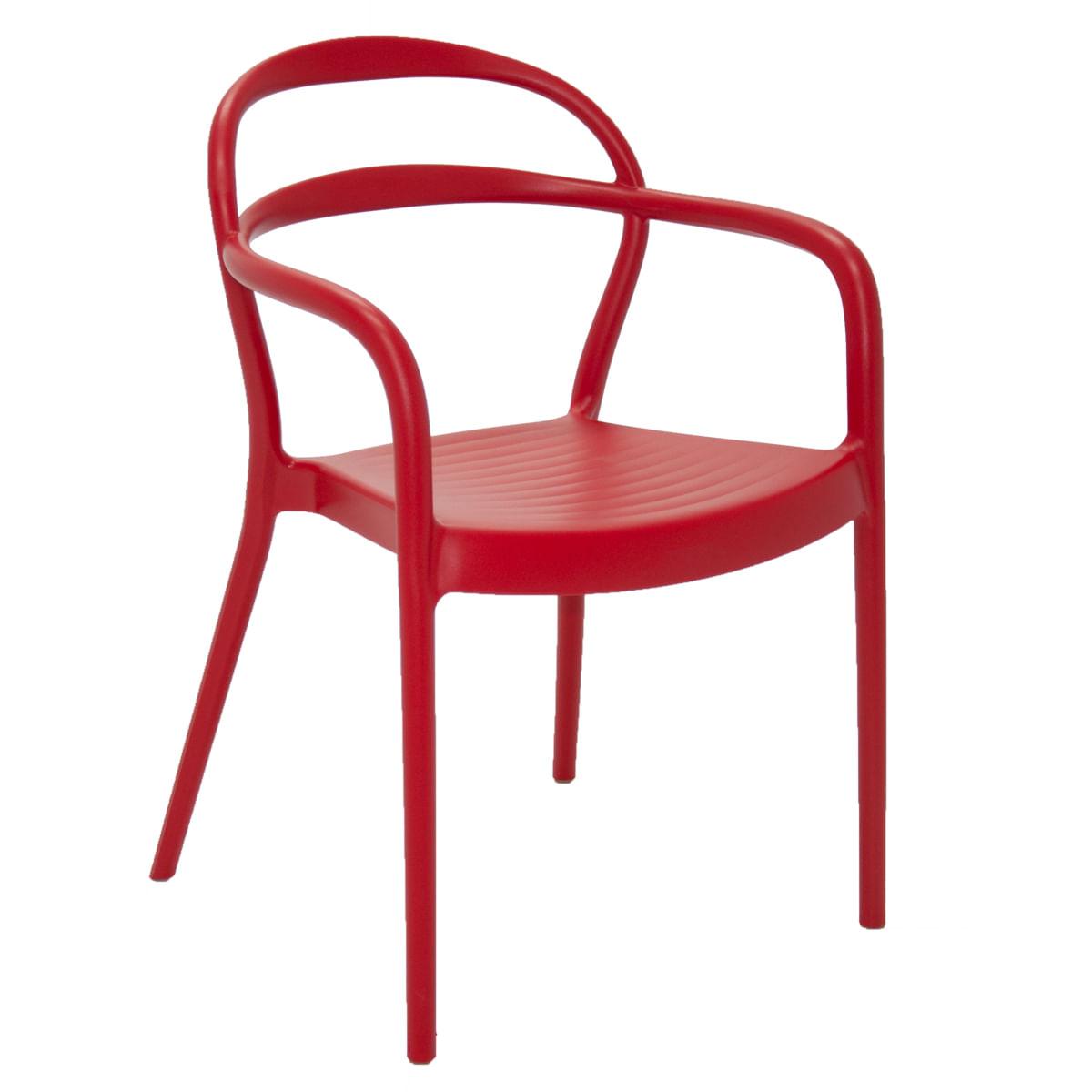 Cadeira Tramontina Sissi com Encosto Vazado em Polipropileno e Fibra de Vidro Vermelho com Braços